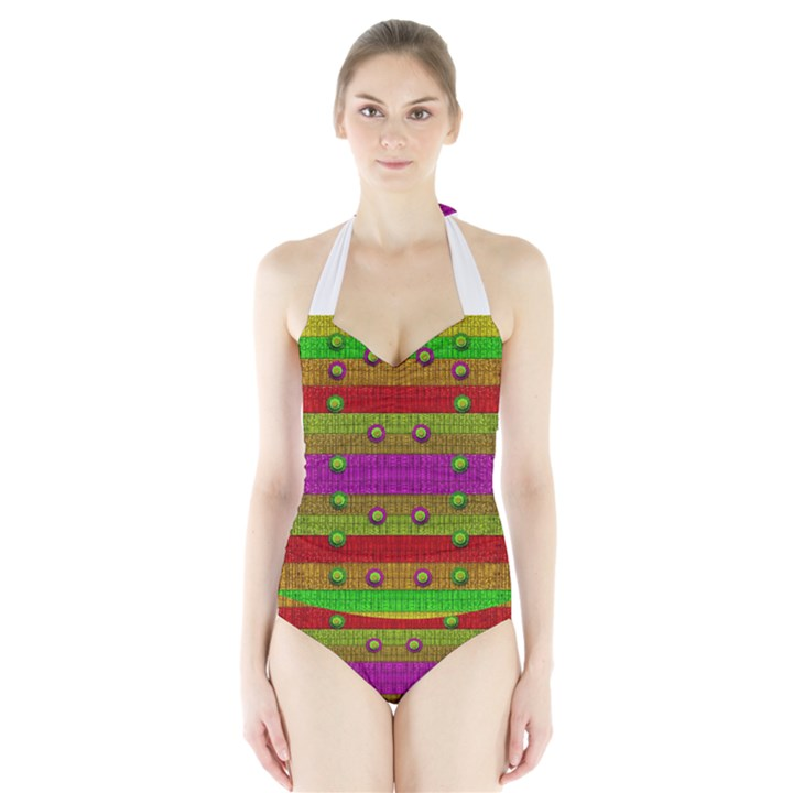 A Wonderful Rainbow And Stars Halter Swimsuit