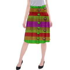 A Wonderful Rainbow And Stars Midi Beach Skirt