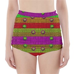 A Wonderful Rainbow And Stars High-Waisted Bikini Bottoms