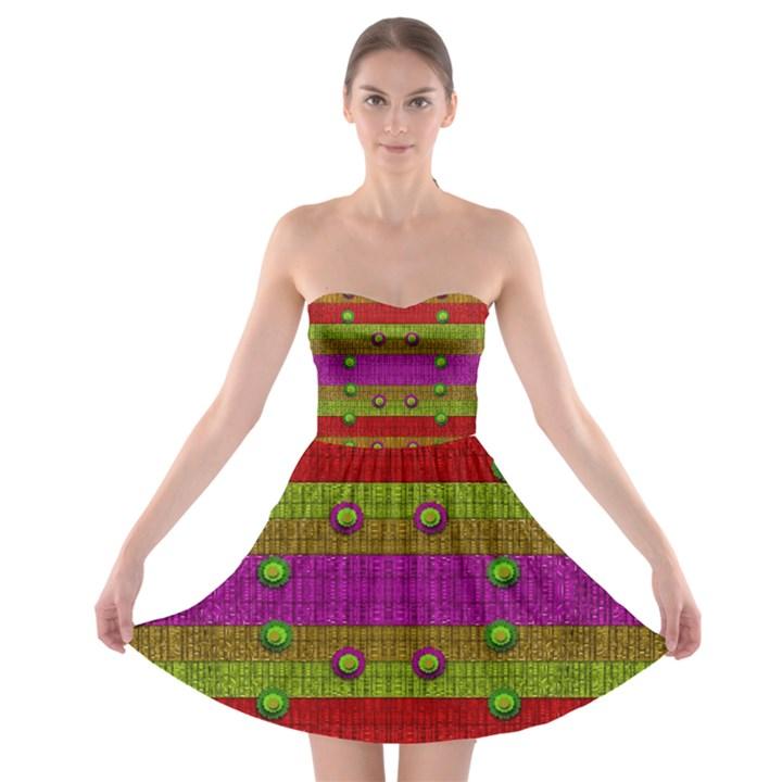 A Wonderful Rainbow And Stars Strapless Bra Top Dress