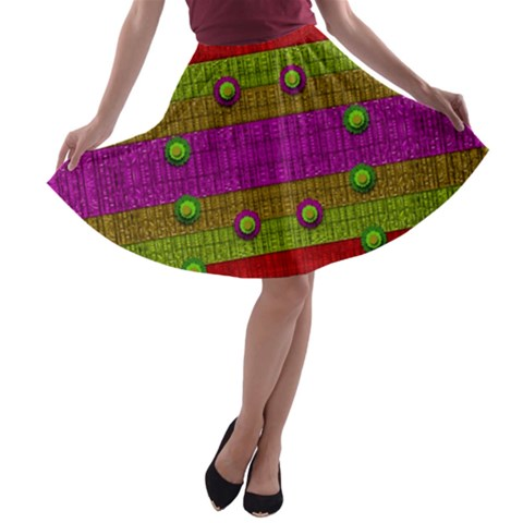 A Wonderful Rainbow And Stars A-line Skater Skirt