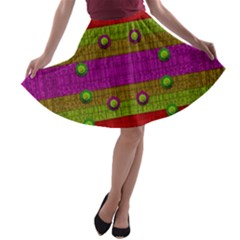 A Wonderful Rainbow And Stars A Line Skater Skirt