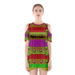 A Wonderful Rainbow And Stars Cutout Shoulder Dress
