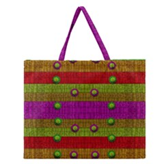 A Wonderful Rainbow And Stars Zipper Large Tote Bag