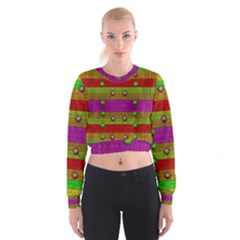 A Wonderful Rainbow And Stars Women s Cropped Sweatshirt