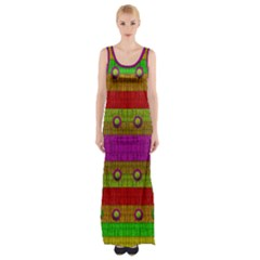 A Wonderful Rainbow And Stars Maxi Thigh Split Dress