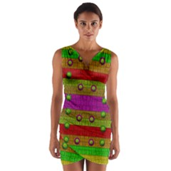 A Wonderful Rainbow And Stars Wrap Front Bodycon Dress