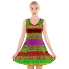 A Wonderful Rainbow And Stars V-Neck Sleeveless Skater Dress