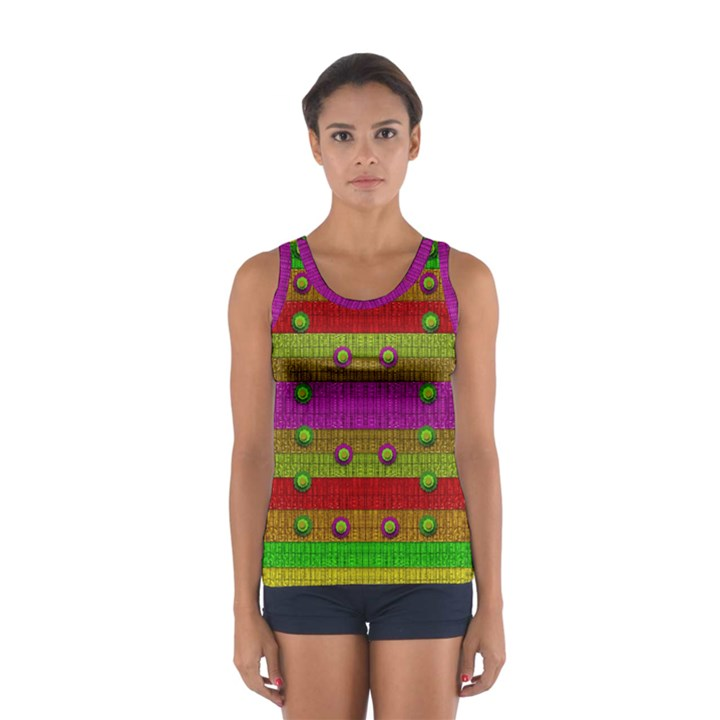 A Wonderful Rainbow And Stars Women s Sport Tank Top