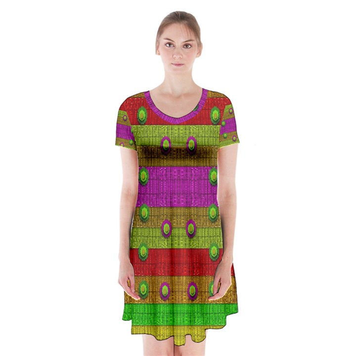 A Wonderful Rainbow And Stars Short Sleeve V-neck Flare Dress