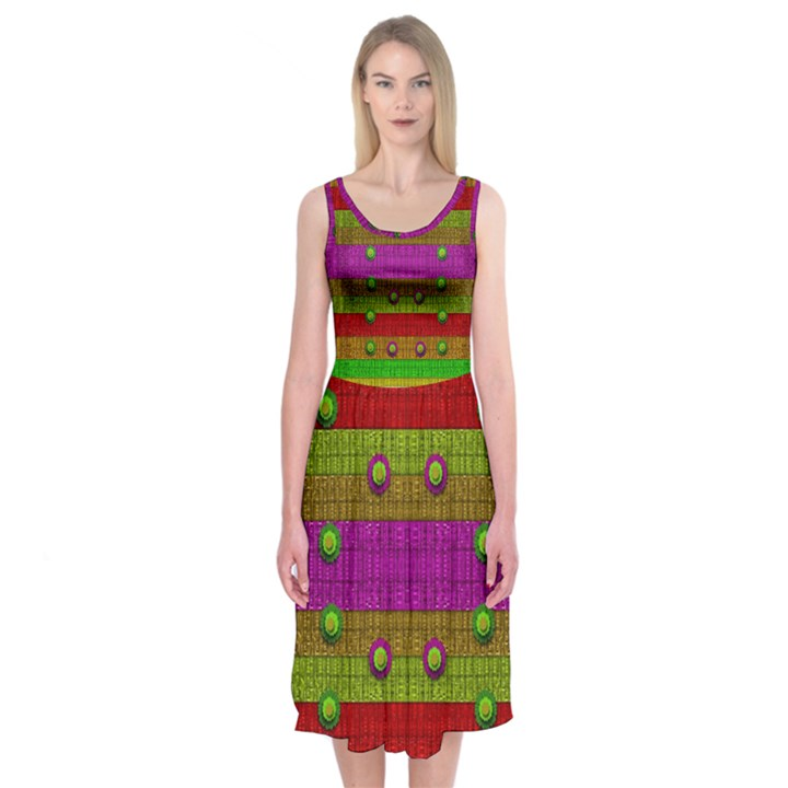 A Wonderful Rainbow And Stars Midi Sleeveless Dress