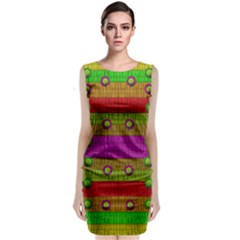 A Wonderful Rainbow And Stars Classic Sleeveless Midi Dress