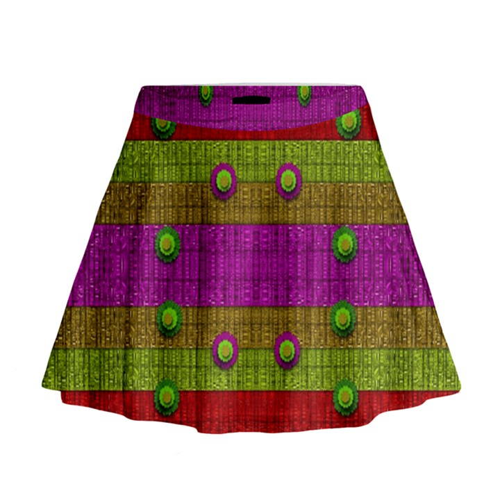 A Wonderful Rainbow And Stars Mini Flare Skirt