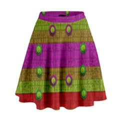 A Wonderful Rainbow And Stars High Waist Skirt