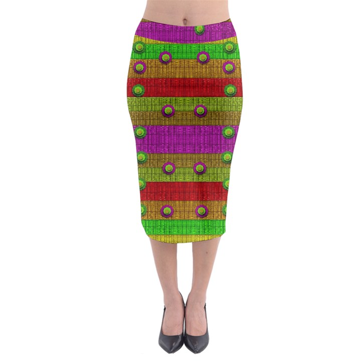 A Wonderful Rainbow And Stars Midi Pencil Skirt