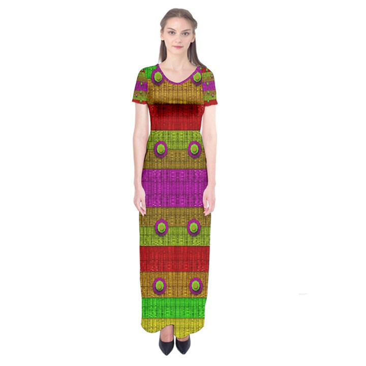 A Wonderful Rainbow And Stars Short Sleeve Maxi Dress