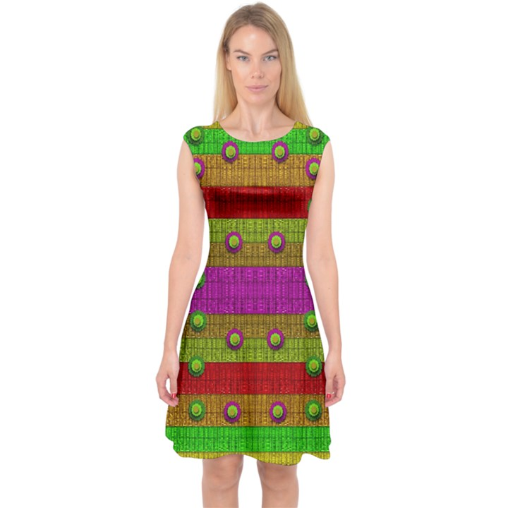 A Wonderful Rainbow And Stars Capsleeve Midi Dress