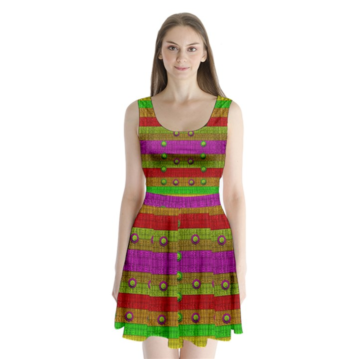 A Wonderful Rainbow And Stars Split Back Mini Dress