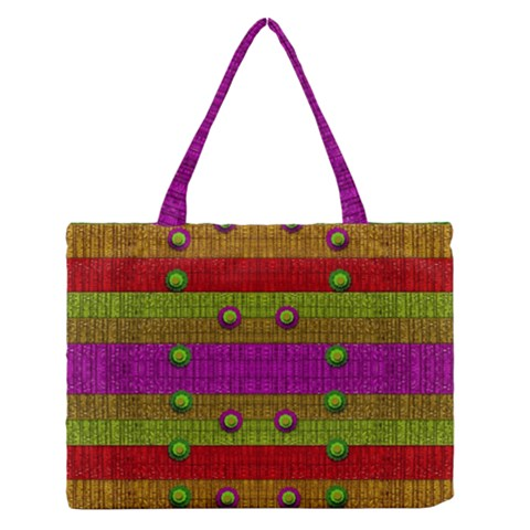 A Wonderful Rainbow And Stars Medium Zipper Tote Bag