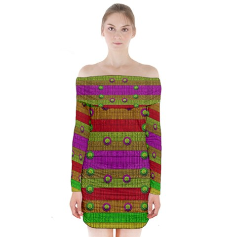 A Wonderful Rainbow And Stars Long Sleeve Off Shoulder Dress