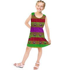 A Wonderful Rainbow And Stars Kids  Tunic Dress