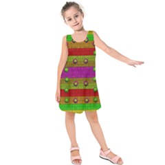A Wonderful Rainbow And Stars Kids  Sleeveless Dress