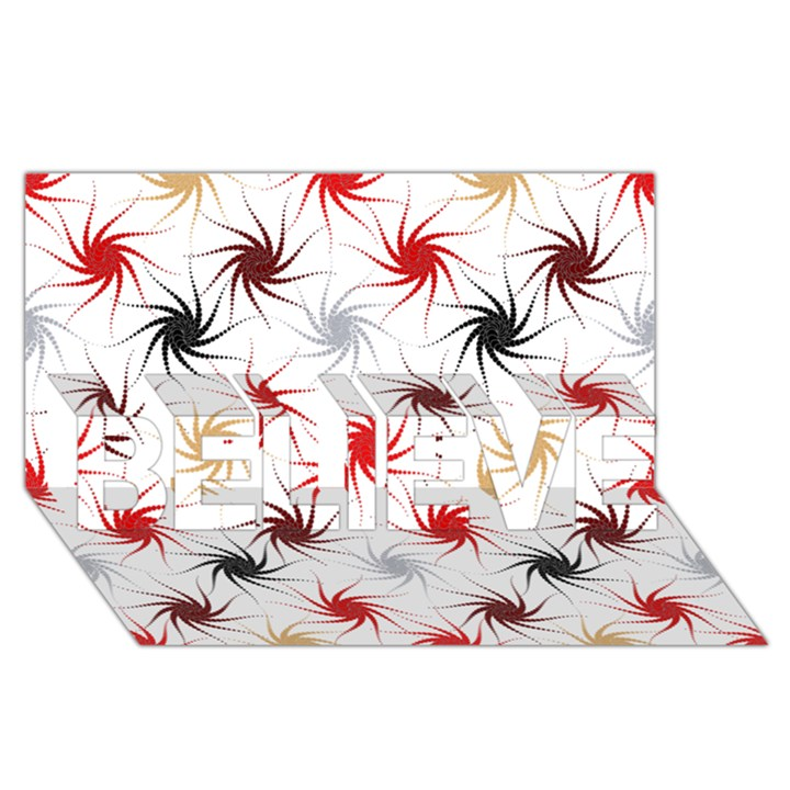 Pearly Pattern BELIEVE 3D Greeting Card (8x4)
