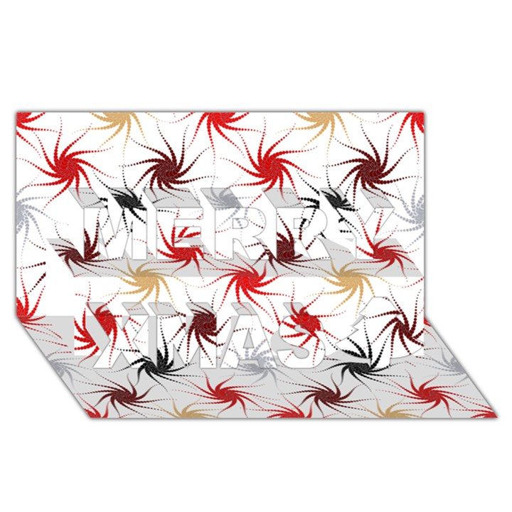 Pearly Pattern Merry Xmas 3D Greeting Card (8x4)