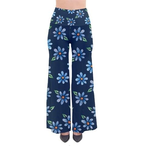 Retro Blue Daisy Flowers Pattern Women s Chic Palazzo Pants