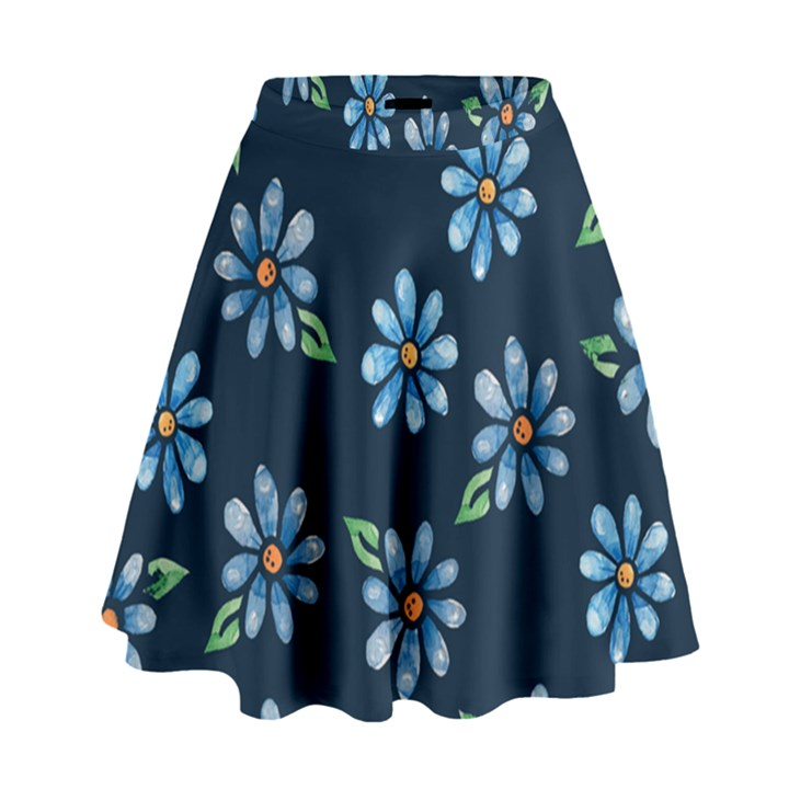 Retro Blue Daisy Flowers Pattern High Waist Skirt