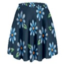 Retro Blue Daisy Flowers Pattern High Waist Skirt View2