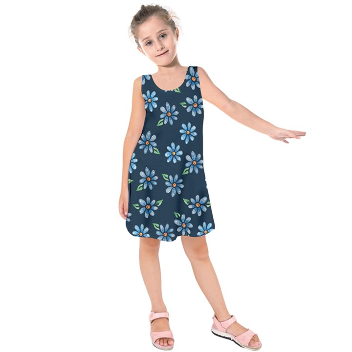 Retro Blue Daisy Flowers Pattern Kids  Sleeveless Dress