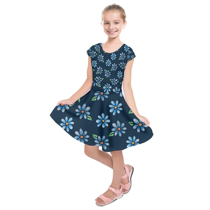 Retro Blue Daisy Flowers Pattern Kids  Short Sleeve Dress