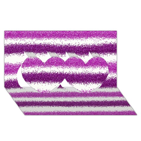 Pink Christmas Background Twin Hearts 3D Greeting Card (8x4)
