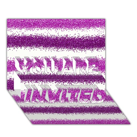 Pink Christmas Background YOU ARE INVITED 3D Greeting Card (7x5)