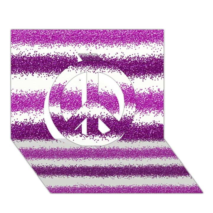 Pink Christmas Background Peace Sign 3D Greeting Card (7x5)