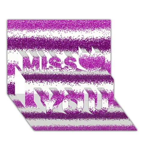 Pink Christmas Background Miss You 3D Greeting Card (7x5)