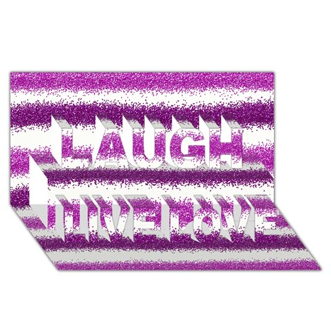 Pink Christmas Background Laugh Live Love 3D Greeting Card (8x4)