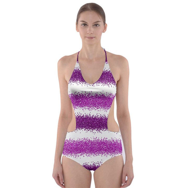Pink Christmas Background Cut-Out One Piece Swimsuit
