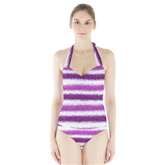 Pink Christmas Background Halter Swimsuit