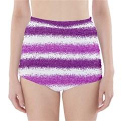 Pink Christmas Background High-Waisted Bikini Bottoms