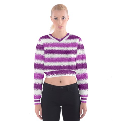 Pink Christmas Background Women s Cropped Sweatshirt