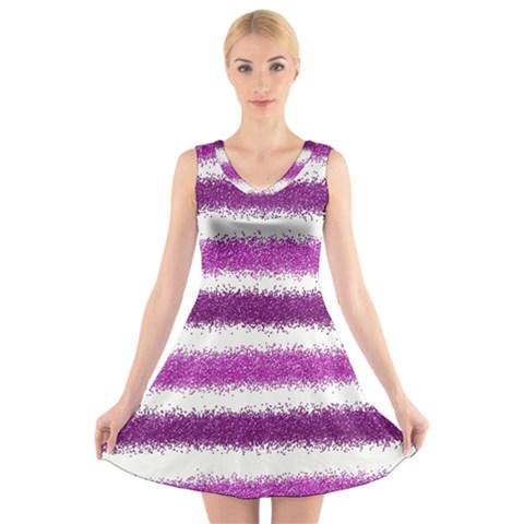 Pink Christmas Background V-Neck Sleeveless Skater Dress