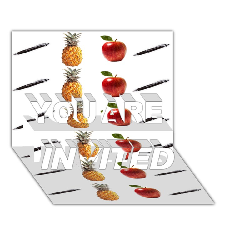 Ppap Pen Pineapple Apple Pen YOU ARE INVITED 3D Greeting Card (7x5)
