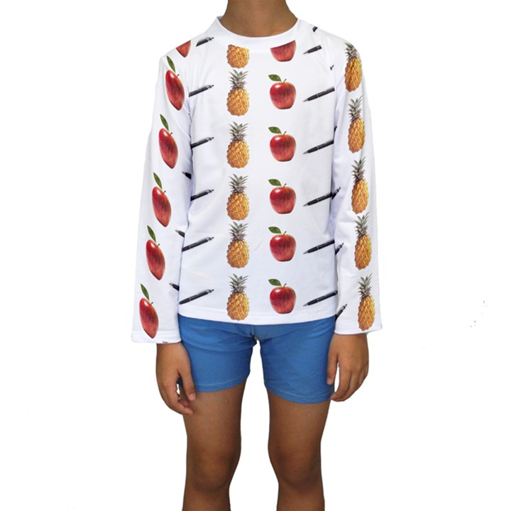 Ppap Pen Pineapple Apple Pen Kids  Long Sleeve Swimwear
