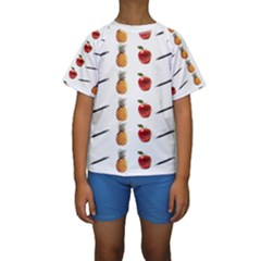 Ppap Pen Pineapple Apple Pen Kids  Short Sleeve Swimwear