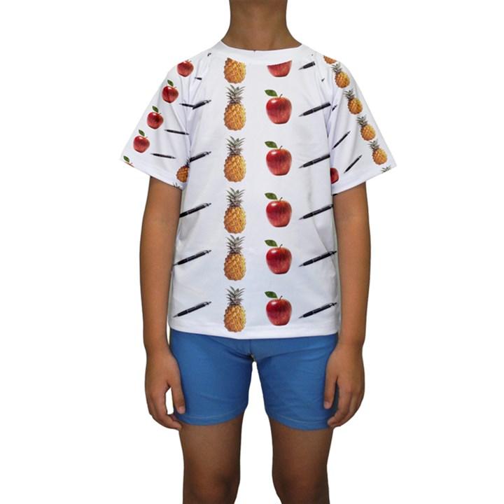 Ppap Pen Pineapple Apple Pen Kids  Short Sleeve Swimwear