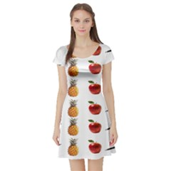 Ppap Pen Pineapple Apple Pen Short Sleeve Skater Dress