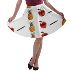 Ppap Pen Pineapple Apple Pen A-line Skater Skirt