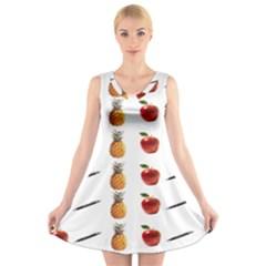 Ppap Pen Pineapple Apple Pen V-Neck Sleeveless Skater Dress